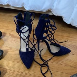 Navy blue lace up pointed toe heels